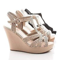 Bump55 By Top Moda, Peep Toe Laser Cut Out Sling back Platform Wedge Sandals