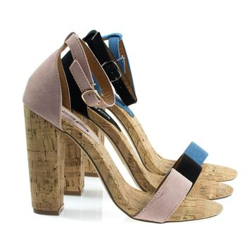 Fay6 Blush Beige By X2B, Chunky Block Heel Sandal On Faux Cork Texture. Women's Party Shoes