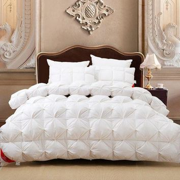 CREY78W Luxury 100%goose down white plaid king queen or 220*240 or 200*230 comforter double size bed winter blanket nobel quilt set