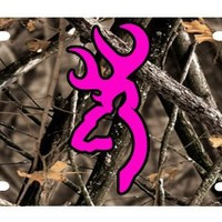 B2191A Pink Buck on Camo License Plate