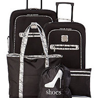 New Directions® 5-Piece Black with Snake Print Trim Luggage Set