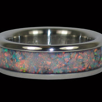 Black Fire and Ice Synthetic Opal Titanium Ring by Hawaiititanium