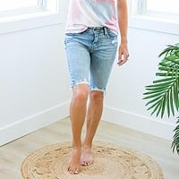 Light Wash Frayed Bermudas