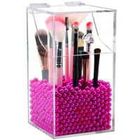 Clear Acrylic Cosmetic Brush Organizer Acrylic Makeup Brush Holder Acrylic Brush Storage Box Bag Organizer with Dust-proof Lids Free rosy Pearl for Vanity Eyebrow lipstick Pen - NEWCREA