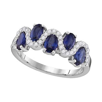 18kt White Gold Oval Blue Sapphire Diamond Band Ring 1-7/8 Cttw
