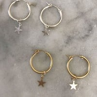 Star Hoop Earrings - 14k Gold Filled