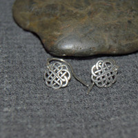 tiny celtic circle earrings, sterling silver dainty earrings, black silver oxidized, celtic knot earrings,  simple jewelry gift for her