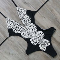 2017 Blue/Black/White Crochet Floral One Piece Swimsuit Sets Sexy Swimwear Women Lace Bodysuit Monokini Bathing Suit Beach Wear