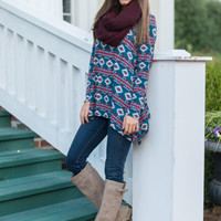 Adorably Aztec Tunic, Teal/Wine