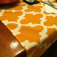 Fall Table Runner Tablecloth- One, Thanksgiving Table Decor, Orange Thanksgiving Tablecloth, Fall Decor, Tableware, Fall Wedding Decor