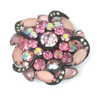 Pink Rhinestone Pinwheel Brooch AB Frosted Stones Japanned Finish Dimensional Vintage