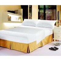 Luxury Solid Soft White Linen Fitted & Flat Bed Sheets Set with Pillow Cases Sham Covers (FSFS098765)
