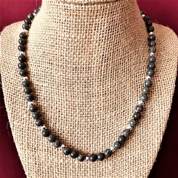 Russian Serpentine and Silver Beaded Mens Necklace