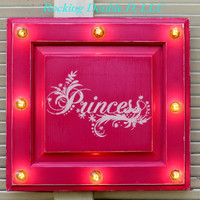 Princess Marquee Sign, Hot Pink, Light Up, Birthday, Party, Bedroom, Home Decor, Nursery