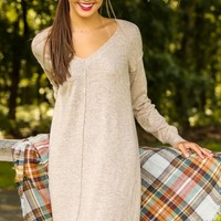 A Place To Unwind Sweater Dress-Oatmeal