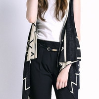 Geometric Print Sleeveless Cardigan