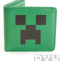 Minecraft Creeper Face Green Leather Wallet