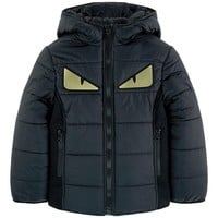 Boys Dark Puffer Jacket with Gold 'Monster Eyes'