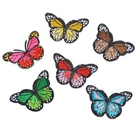Hoomall 6PCs Fixed Mix Butterfly Patches Clothing Decoration Iron On Patches Applique Embroidered Sticker Jean Febric Badges DIY