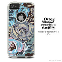 The Blue & Brown Abstract Swirls Skin For The iPhone 4-4s or 5-5s Otterbox Commuter Case