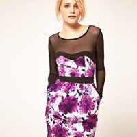 Jarlo | Jarlo Bright Floral Dress With Mesh