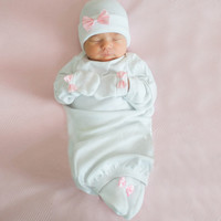 Pure White Sweet Pink Satin Bow Newborn Girl Hat, Mittens and Booties Nursery SET