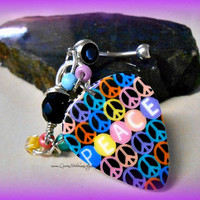 Hippie Peace Sign Belly Ring, Navel Bling, Belly Ring, Bohemian, Direct Checkout, Ready to Ship