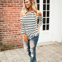 Simply Sweet Stripe Cold Shoulder (White with Black)