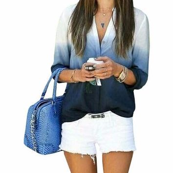 Fashion gradient color long-sleeved Shirt Blouse Tops