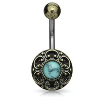 BodyJ4You Belly Ring Button Navel Bar Antique Shield Filigree Edge Turquoise Stone Piercing Jewelry