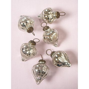 6 Pack   Mercury Glass Small Ornaments (2 to 2.25-inch, Silver, Carla Design) - Great Gift Idea, Vintage-Style Decorations for Christmas, Special Occasions, Home Decor and Parties