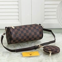 LV Louis Vuitton Canvas Presbyopia Women's Drum Bag Two-Piece Set