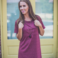 Casual T-Shirt Dress in Wine