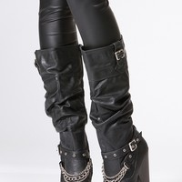 Qupid Black Chain Knee High Boot @ Cicihot Boots Catalog:women's winter boots,leather thigh high boots,black platform knee high boots,over the knee boots,Go Go boots,cowgirl boots,gladiator boots,womens dress boots,skirt boots.