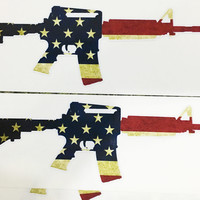 M16/AR-15 American Flag Sticker Decal