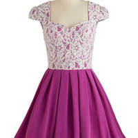 Chi Chi London Long Cap Sleeves Fit & Flare Loganberry Beautiful Dress in Purple