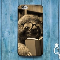 iPhone 4 4s 5 5s 5c 6 6s plus iPod Touch 4th 5th Generation Cover Funny Baby Sloth Reading Book Cute Cover Nerd Geek Animal Lover Dork Case