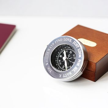 Men's Compass Personalised With Timber Box
