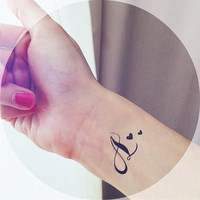 """2pcs """"A"""" Initial tatoo with star or heart tattoo  - InknArt Temporary Tattoo -  script couple lover temporary tattoo wrist neck ankle"""