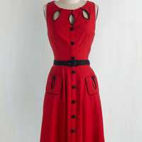 Pinup Long Sleeveless A-line Swell-Heeled Dress in Ruby A-line