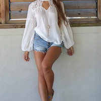 Summer Of Love White Lace Mixed Hi-Neck Blouse