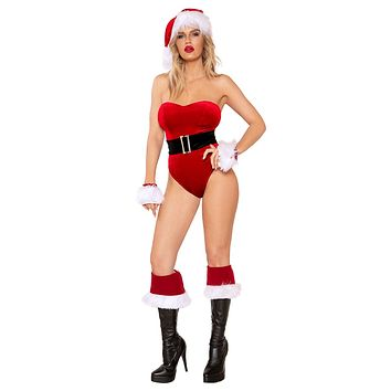 Sexy Holidays Naughty Mrs Claus Strapless Red Velvet Belted Romper