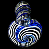 Black and White Spiral Swirls Laced with Deep Blue - Large, Heavy Hand Blown Boro Spoon Smoking Bowl Glass Pipe