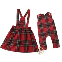 Christmas Toddler Baby Kid Girl Clothes Children Red Plaid Ruffles Skirts Newborn Baby Girl Rompers Overalls Xmas Girls Costumes