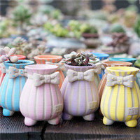 Creative Stereo Relief Vase Three - dimensional Bow Tie Ornaments Plant Pot Craft Home Decor