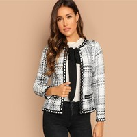 Tie Neck Whipstitch Detail Tweed Coat Women Jacket Black White Elegant Outerwear Womens Coats Jackets