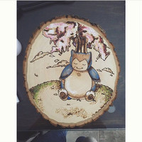 Snorlax Wood Burning, Cherry Blossom Wood Burning, Pokemon Wood Burning, Customized Wood Plaque Wall Decor, Gift for Him, Gift for Her,