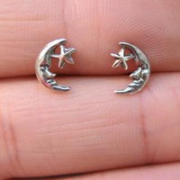 Silver Moon and Star Stud Earrings from SecondChance