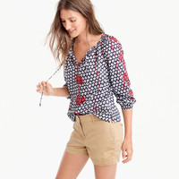 Embroidered tie-neck top in printed Indian voile