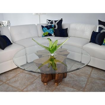 Naturally Sculpted Cypress Tree Stump Coffee Table Beveled Glass Top Vintage Large